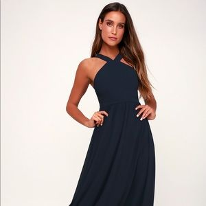 Lulu's Air of Romance Navy Blue Maxi Dress